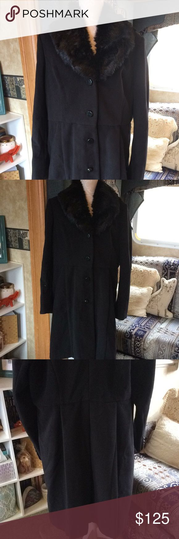 NWOT Dennis by Dennis Basso Long Black Peacoat XL New without tags. Faux fur removable collar. Back splits on bottom are still tacked. A few buttons are loose and will need to be resewn. I do not trade or hold items. Reasonable offers will be considered. Dennis by Dennis Basso Jackets & Coats Pea Coats