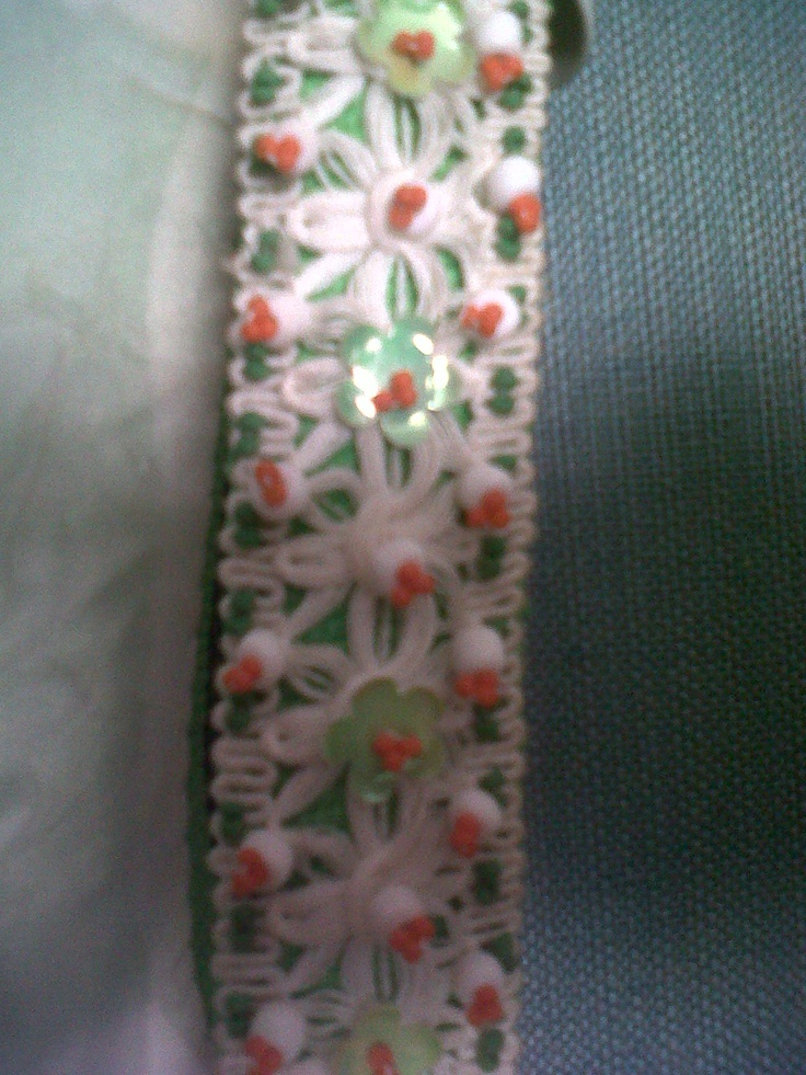 Extremely 50s cotton dress with a very fine border of beads and embroidery. Cravero tailor in Turin Italy Haute Couture