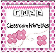Tons of classroom printables...all free.                                                                                                                                                                                 More