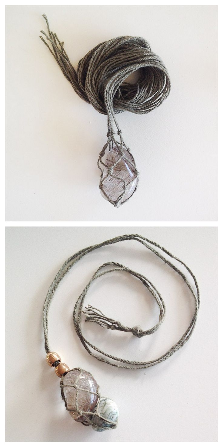 DIY Macrame Gem Necklace Tutorial from sustainability in style. This is similar to making a macrame plant hanger for the gems/stones and then finishing with a 4 strand braid for the rest of the...