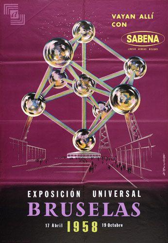 Bruxelles World's Fair 1958 * Sabena #travel #poster