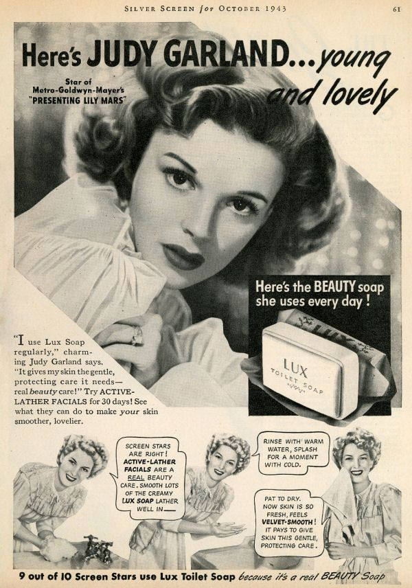 Judy in a Lux Soap advertisement. (October 1943)...Please save this pin.  Because for vintage collectibles - Click on the following link now!.. http://www.ebay.com/usr/prestige_online