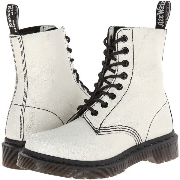 Dr. Martens Pascal 8-Eye Boot (White/Black/Cristal Suede) Lace-up... (225 BRL) ❤ liked on Polyvore featuring shoes, boots, botas, white, white and black shoes, white shoes, white and black boots, lace up shoes and suede shoes