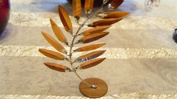 olive branch with wire and copper sheets