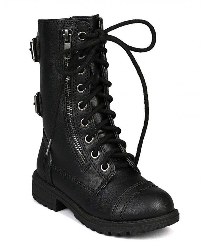 girls lace up black boots