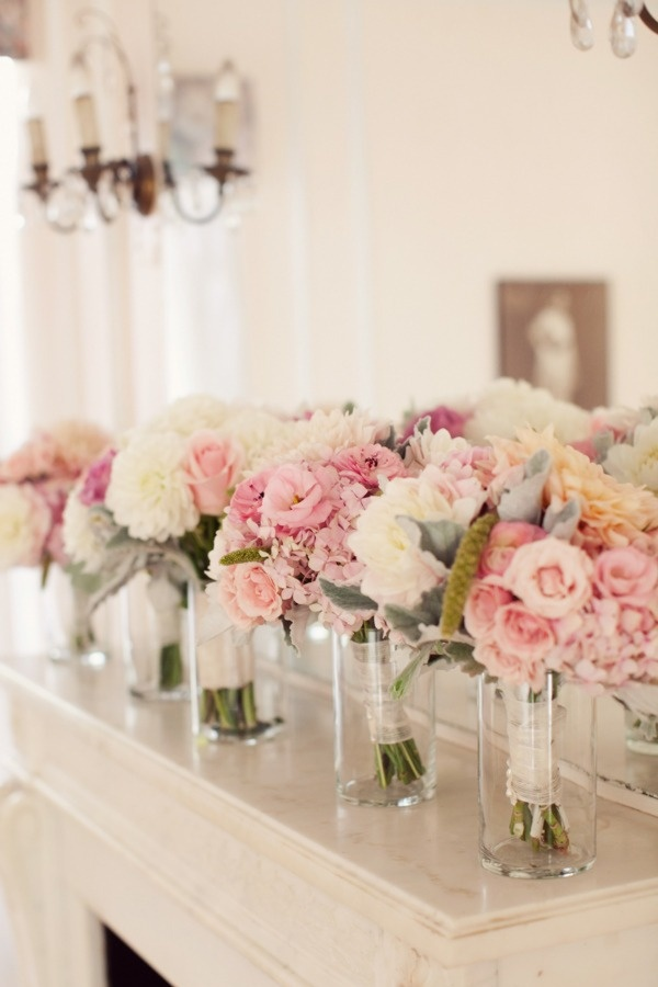 pink and peaches.: Vase, Idea, Bridesmaid Flowers, Color, Parties, Wedding, Head Tables, Bridesmaid Bouquets, Blushes Flowers