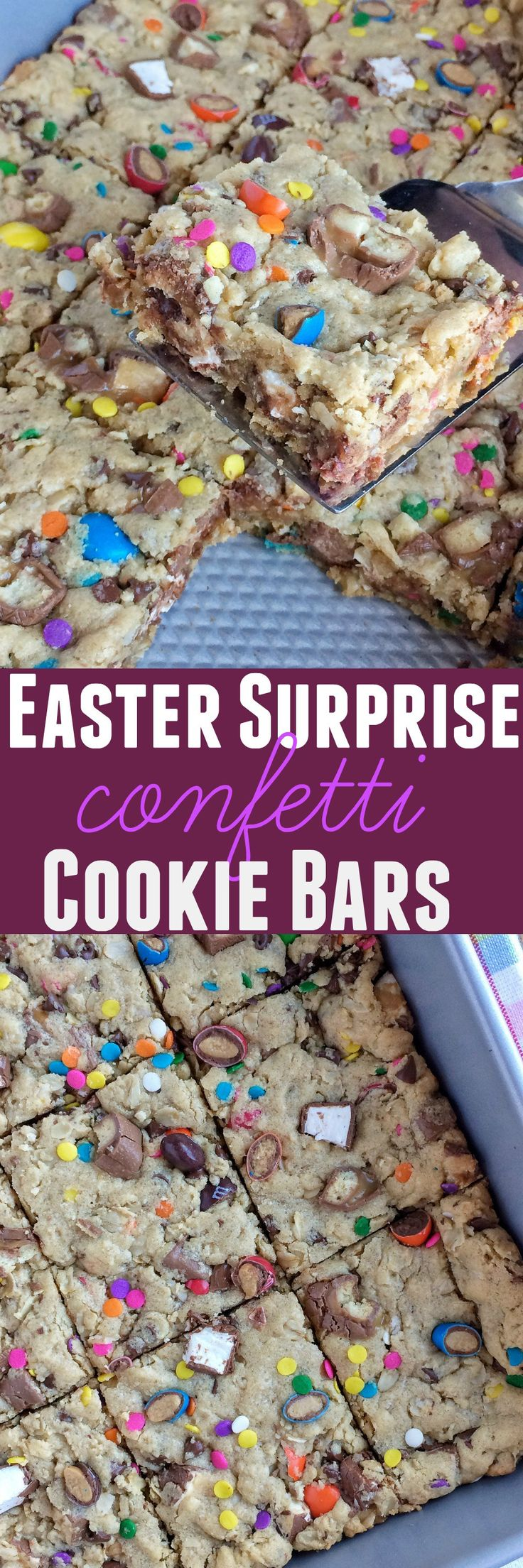 Soft cookie bars loaded with peanut butter, oats, chocolate chips, and candy bars! Plus confetti springtime sprinkles that are perfect for Easter.
