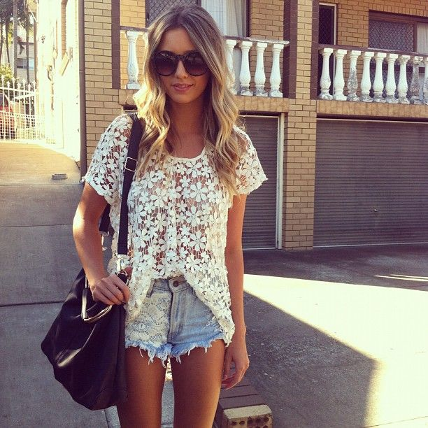 : Summer Fashion, Lace Tops, Summer Style, Cute Summer Outfits, Denim Shorts, Jeans Shorts, Lace Shirts, Lace Shorts, High Waist Shorts