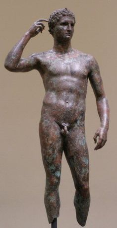 "One of the few surviving Greek Bronze Statues, ""Victorious Youth"", Getty Museum."