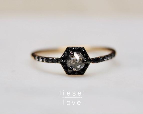"14K Gold Diamond Ring, ""Victoria"" Ring, Black Diamond Engagement Ring, Salt and Pepper Diamond Ring, Dainty Engagement Ring, Diamond Ring"