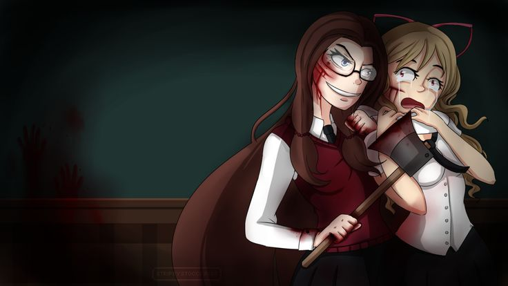 {StripeyStockings}  ---   Trying something new, with poses and interactions. pretty proud of this one.  -- #yandere #creepy #character design #girl #anime #brunette #Yanderegirl #blood #maturewarning #axe  ---  Find me also on: http://stripeystockings.deviantart.com/