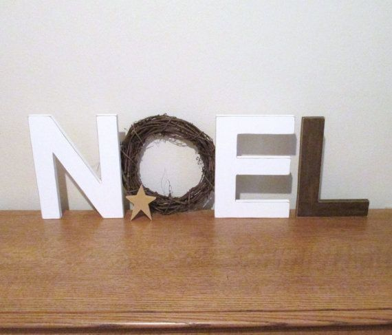 "Noel Letters with Wreath, 10 ""Tall, Mantle Decor, Rustic Christmas Holiday Decor…  – Noel"