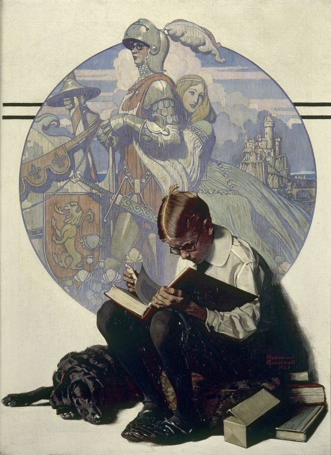 artnuggets: glitteringgoldie: Norman Rockwell, Boy Reading Adventure Story 1923, oil on canvas Collection of George Lucas Rockin' it!