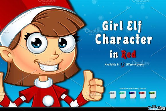 Girl Elf Character In Red by DesignWolf on @creativemarket