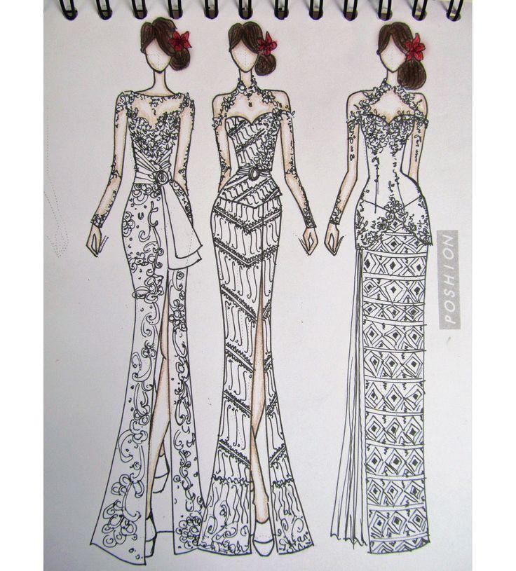Poshion Sketch Book | #fashionillustration #sketchbook #fashionsketch #fashiondesign #draw #croquis #learntodraw #fashionposes #fashionfigure #fashion #batik #textiledesign #indonesiandesigner #fashiondesigner #kebaya