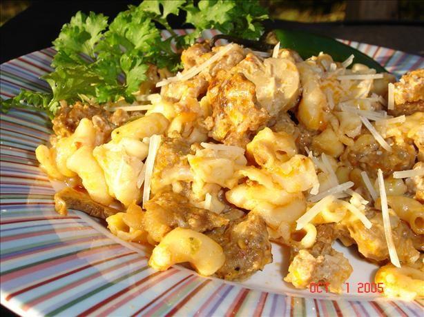 Macaroni & Hot Italian Sausage. Photo by lets.eat