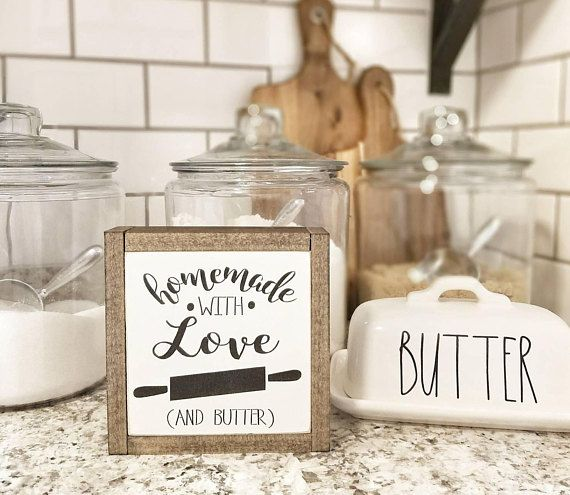 I love this little love and butter sign with a rolling pin.  It would look perfect in a rustic farmhouse kitchen! #ad #rusticdecor #rustic #rusticfarmhouse #rusticprimitive #farmhouse #farmhousestyle #farmhousedecor #farmhousekitchen #decor #decorate #decoratingideas #kitchens