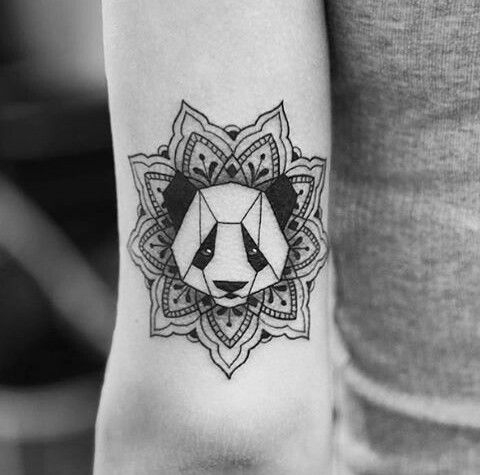panda, tattoo, and mandala Bild