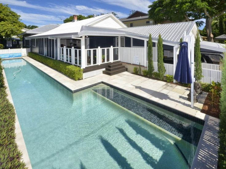 Pool length at side of house. A renovated Queenslander Rs: this would be awesome for G to do laps. But probably too expensive.