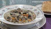 Bидео-рецепт Грибного супа с поджаркой