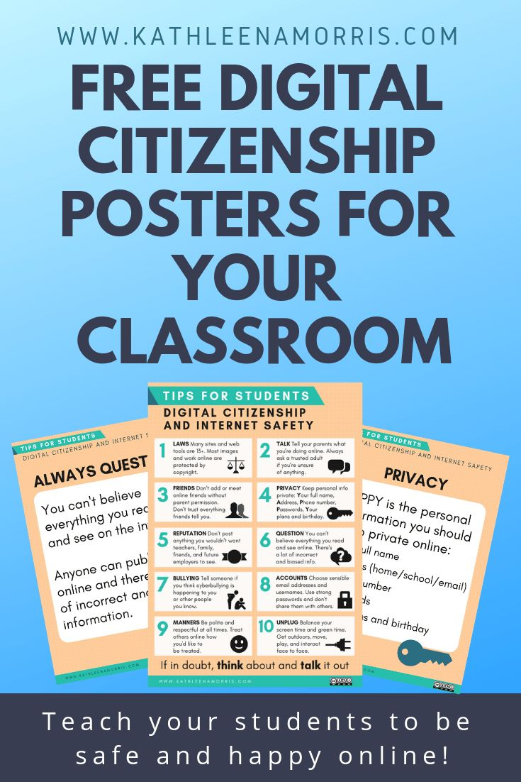 Free Digital Citizenship Posters For Your Classroom  | Internet Safety Tips For Students