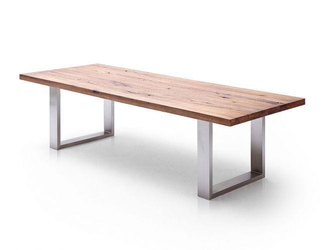 Esstisch Aus Massiv Eiche, Tisch Mit Einem Gestell Aus Metall, Maße 220 X  100 Cm Material Tischplatte: Eiche Massiv Material Gestell: Metall Farbe  Gestell: ...