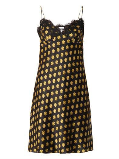 Moschino, Button Print Silk Slip Dress, Original, Authentic, Half Price