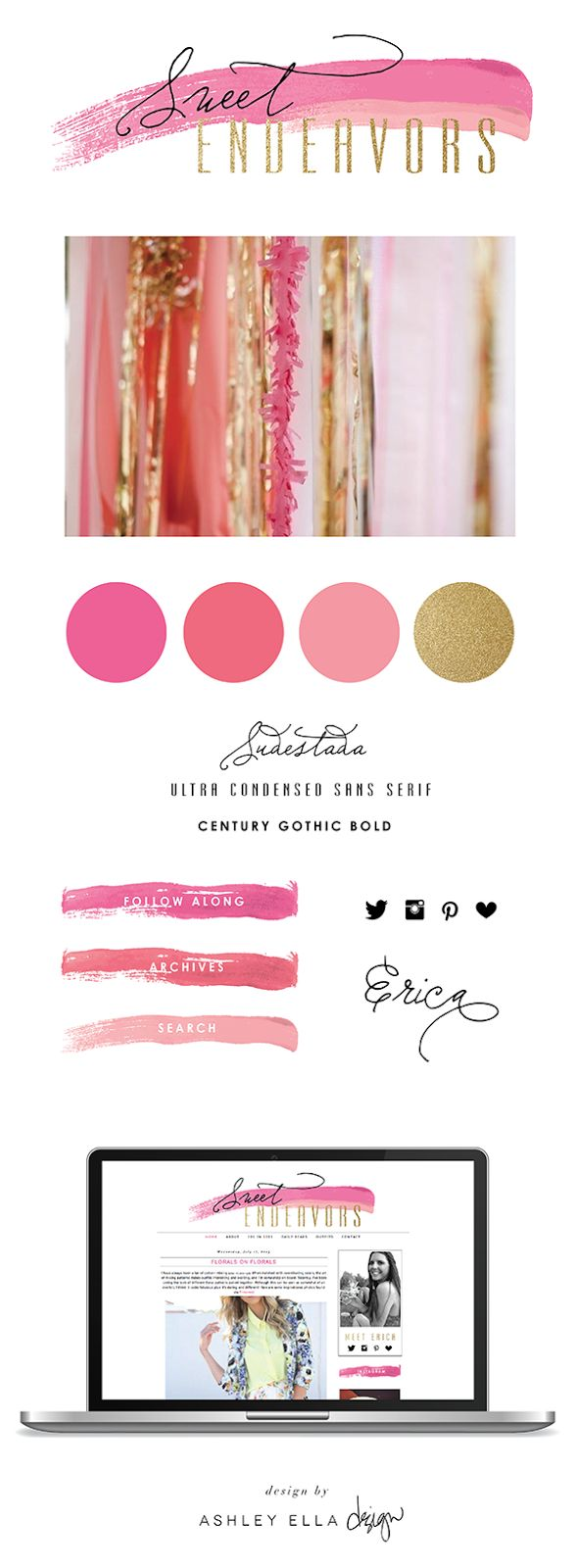 Oooooh baby yes! Gold glitter font is completely ok. Blog branding by Ashley Ella Design