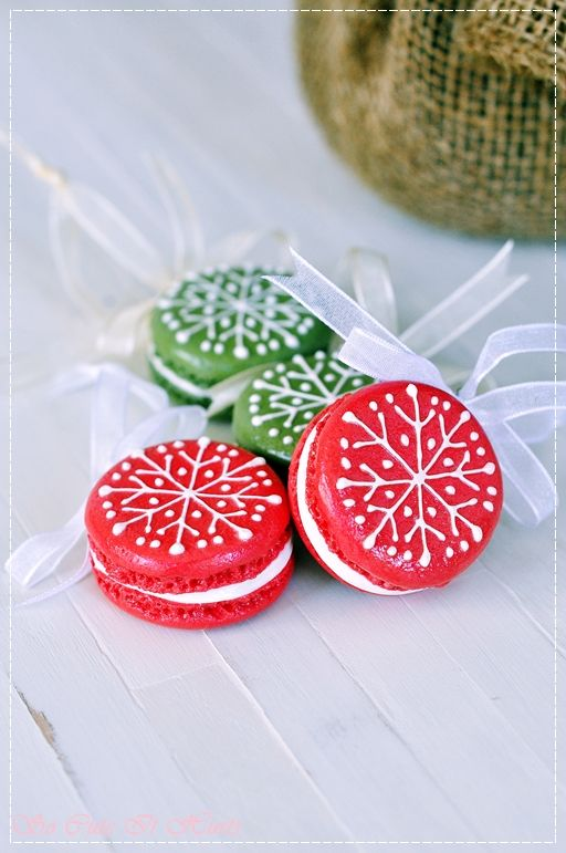 Christmas Macarons Ornaments...these are not edible! :)