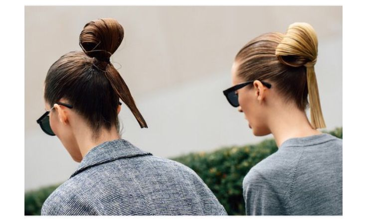 Slick-buns are a cool update on your standard pony. Smooth on lots of styling cream, then leave several inches out of your loop.