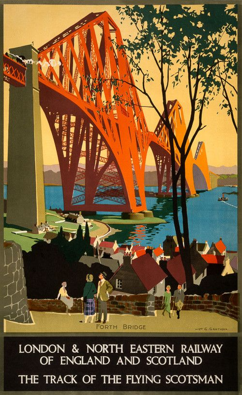 The track of the Flying Scotsman. Vintage Scottish travel poster showing Forth Bridge c 1920