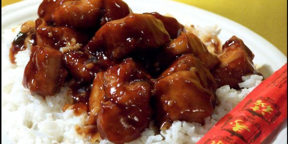 Empress chicken was my favorite thing to order at the local chinese restaurant. They switched over to fast food chinese, and this dish got lost in the translation! I found this recipe online, and its very close to my beloved dish! Great over rice. NOTE: The amount of cornstarch has been adjusted based upon reviewers comments.