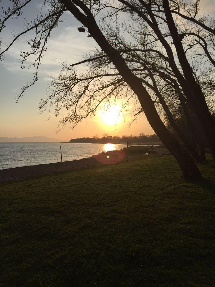 Sunset in trichonida lake...