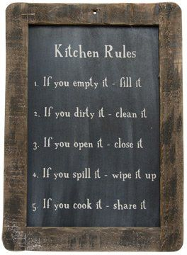 New Primitive Country Folk Art Kitchen Rules Chalkboard Sign Wall Plaque |