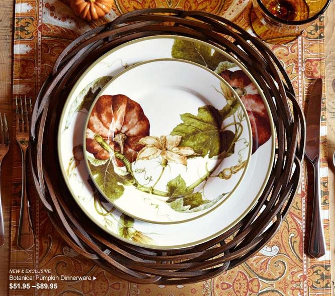 Williams Sonoma - Botanical Pumpkin Dinnerware