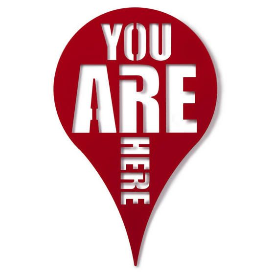 You Are Here Tile Cute and quirky wall art - spray paint it orange or green?