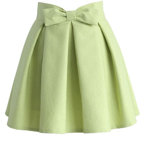 Chicwish Sweet Your Heart Bowknot Pleated Mini Skirt in Pea Green ($39) ❤ liked on Polyvore