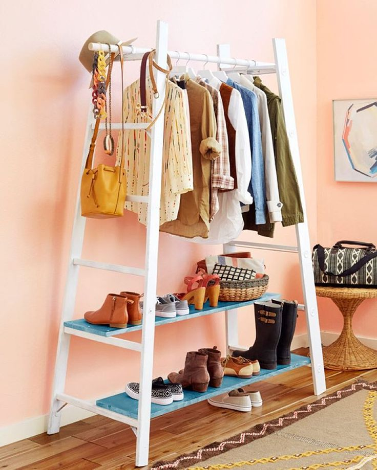 """Emily Henderson on Instagram: """"For all you clothes hoarders out there... Yesterday's blog post was a DIY wardrobe made from a standard ladder. Thanks @bradytolbert for executing, styled by @scotthorne  #davidtsay for @redbookmag Head over and check it out."""""""