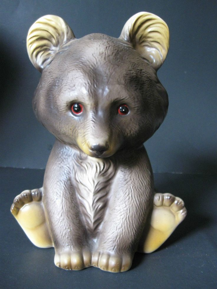 Vintage Ceramic Bear Cub Bank With Stopper Plastic Eyes