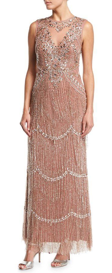 """Beaded Deep-Neck Fringed Sleeveless Evening Gown by Aidan Mattox. Aidan Mattox embellished evening gown with beaded fringe. Approx. 58.3""""L down center back. High neckline with deep V ..."""