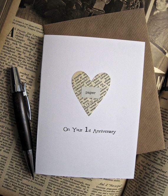 Lovely 1st Anniversary Card Making Ideas Part - 13: 1st Anniversary Keepsake Card Husband Wife. PAPER Heart Cut From Vintage  Book Pages. On