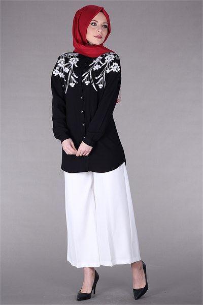 Tesettür Desenli Gömlek Tunik 8490 - Siyah Tunik Modelleri- Kirazgiyim