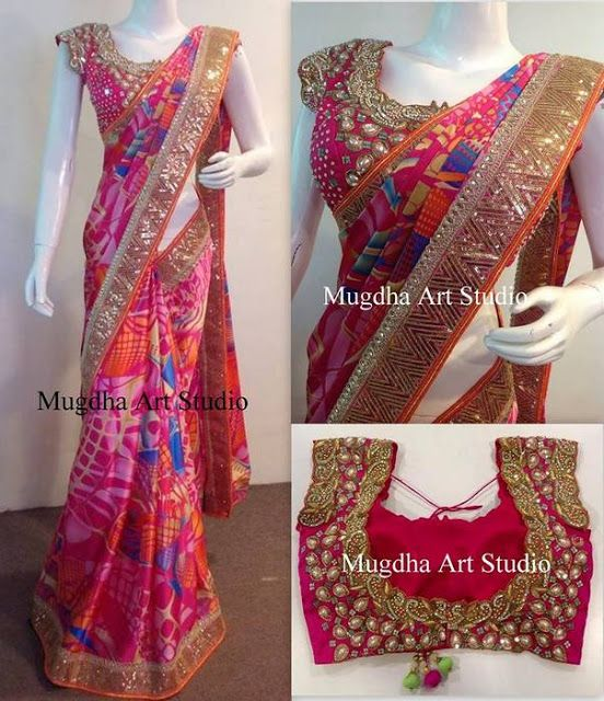 Pink, blue, orange colors combination printed work satin saree, teamed with small mirrors and cut work patch border, running pall. Paired...