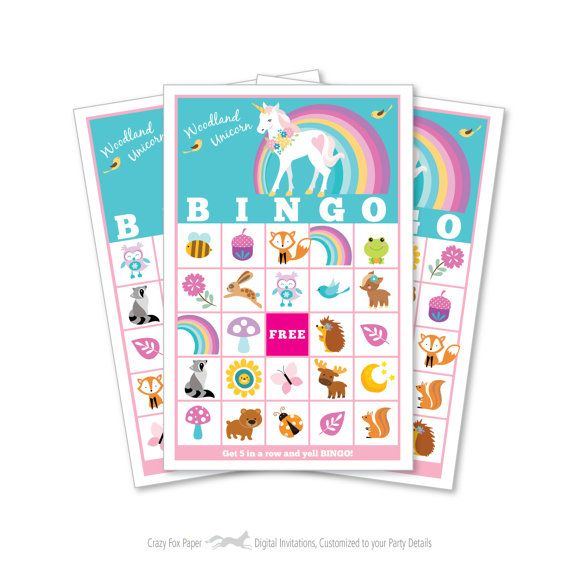 Woodland Unicorn BINGO Game - Kid's Printable Bingo Game - Bingo Game for Kids - Woodland Animals and Unicorn Instant Download