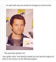 I literally missed this by 15 days because I didn't follow anything supernatural on tumblr then