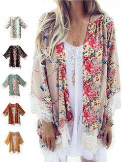 c0c3de76e1 JustVH Women s 3 4 Bell Sleeve Boho Floral Kimono Cardigan Cover up Lace  Stitching Blouse Top - Walmart.com