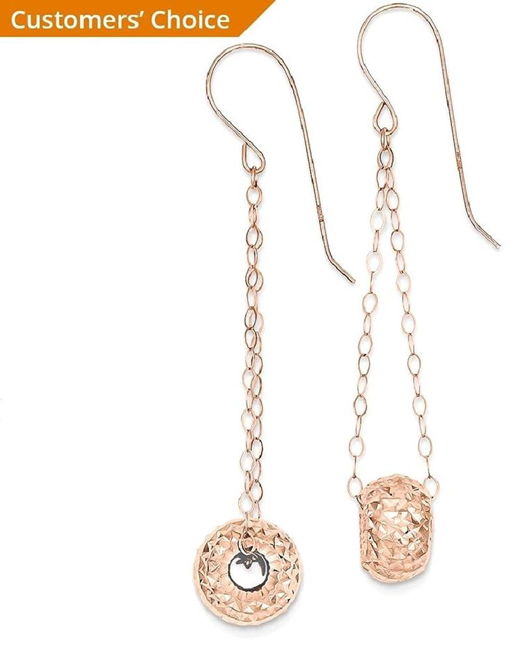 ICE CARATS 14k Rose Gold Chain Puff Donut Bead Drop Dangle Chandelier Earrings Fine Jewelry Gift For Women Heart -- Details can be found by clicking on the image. (This is an affiliate link) #JewelryForSale