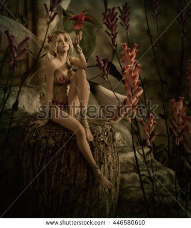 3d computer graphics of a cute blonde fairy and a red hummingbird