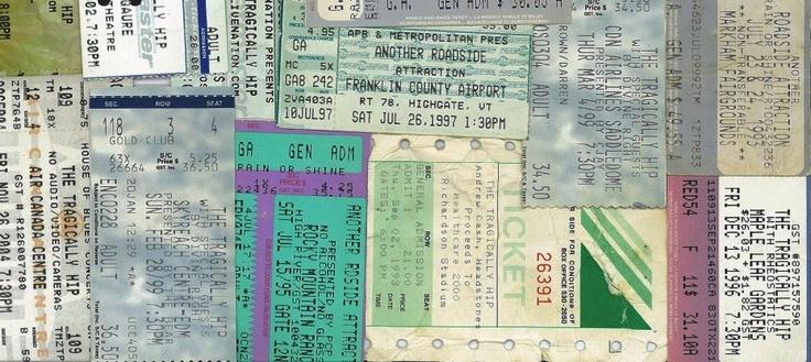 Hip Tour Blog > Some of my Tragically Hip ticket stubs...