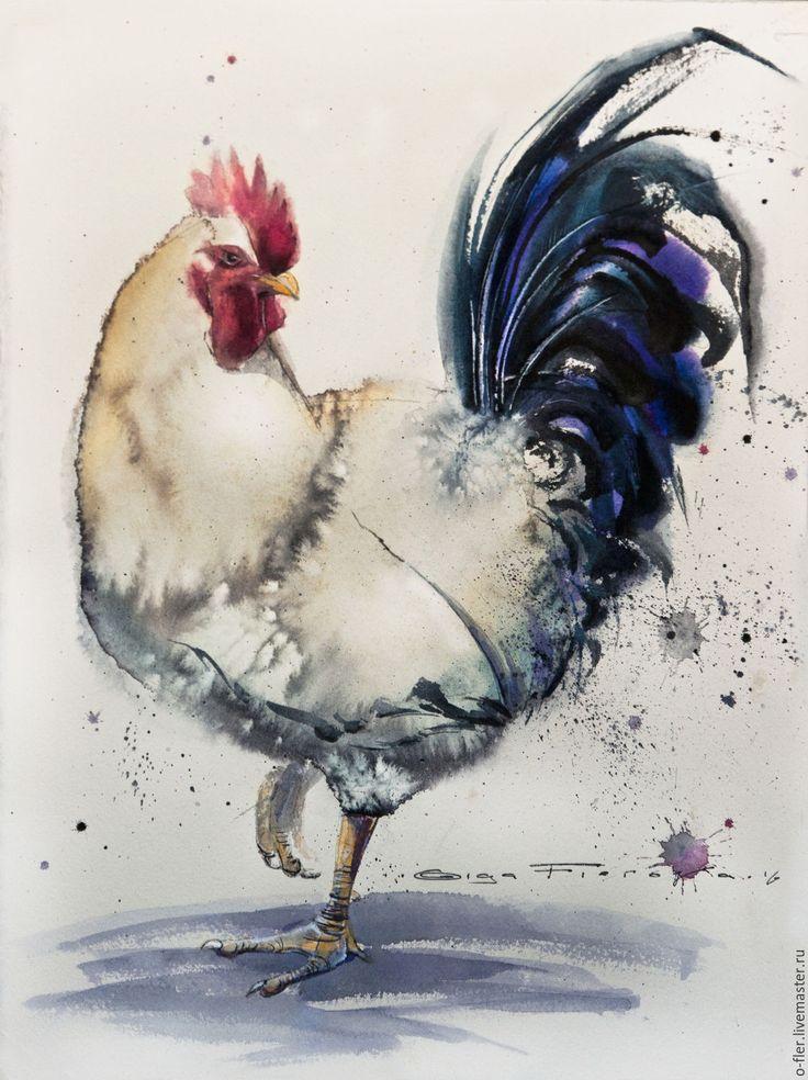 """Купить Акварель """"Петух № 15"""" - картина с петухом, картина с птицей, картина акварелью"""